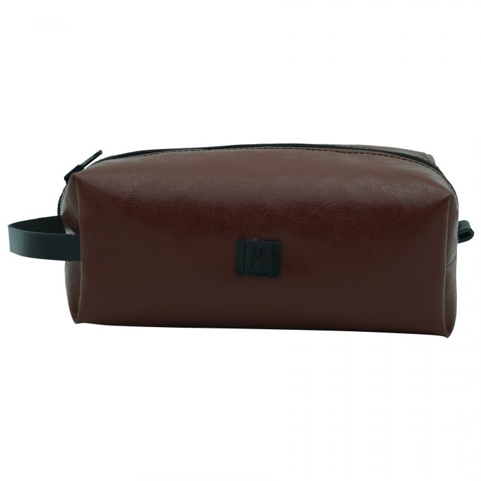 sustainable suede makeup bag