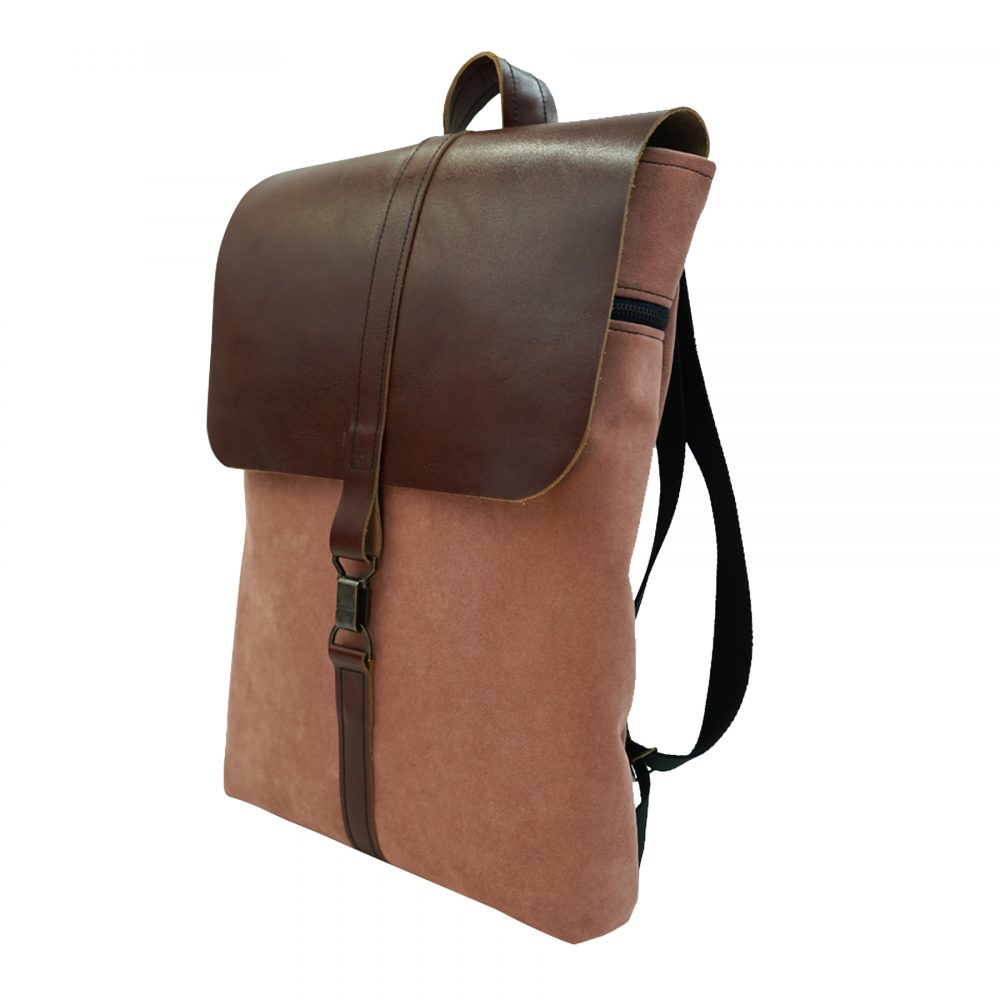 Handmade sustainable leather backpack rosetta from Bagabu