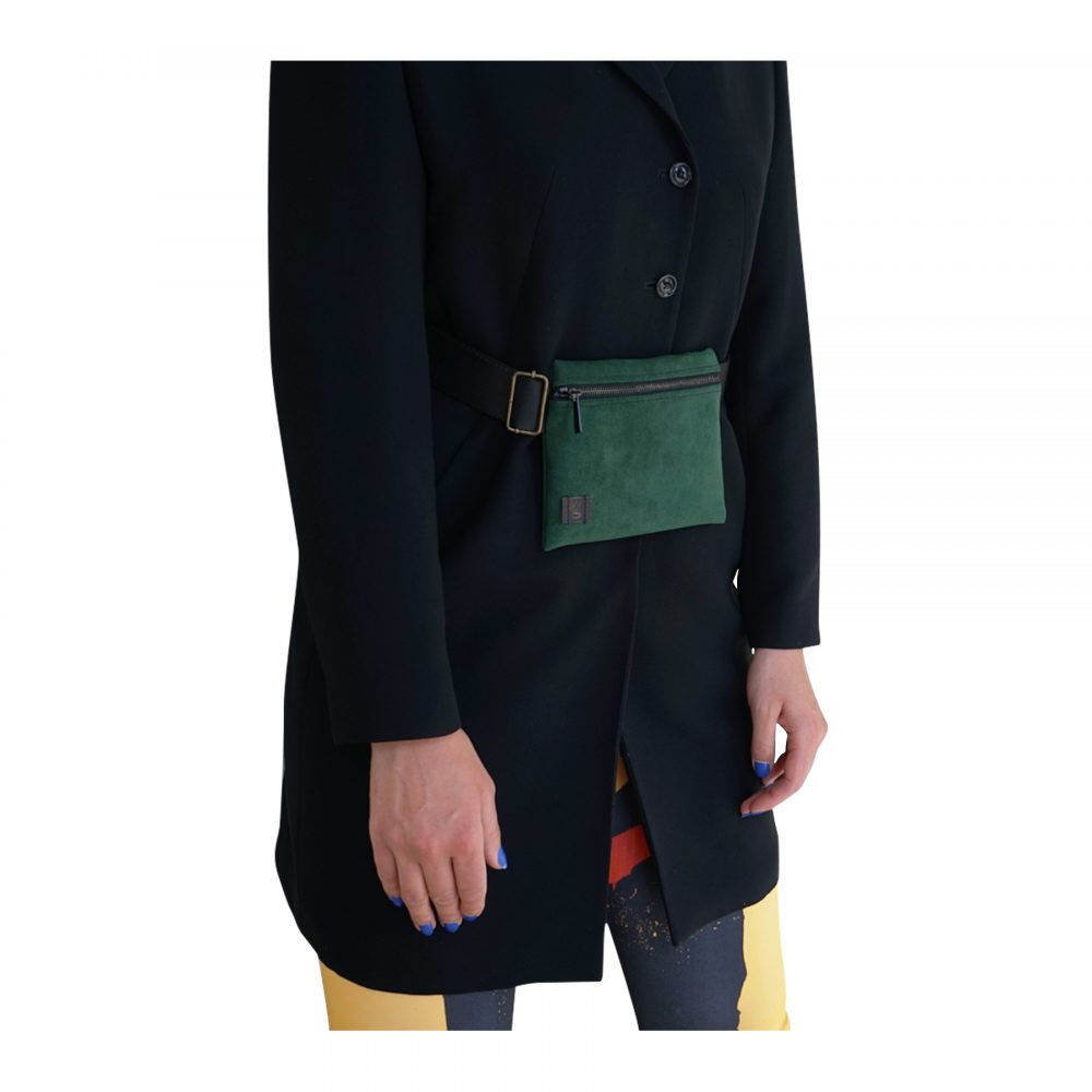 belt bag forest green eco recycled
