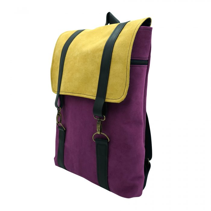 purple yellow backpack sustainable