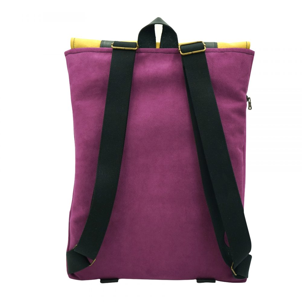 purple yellow backpack hand made