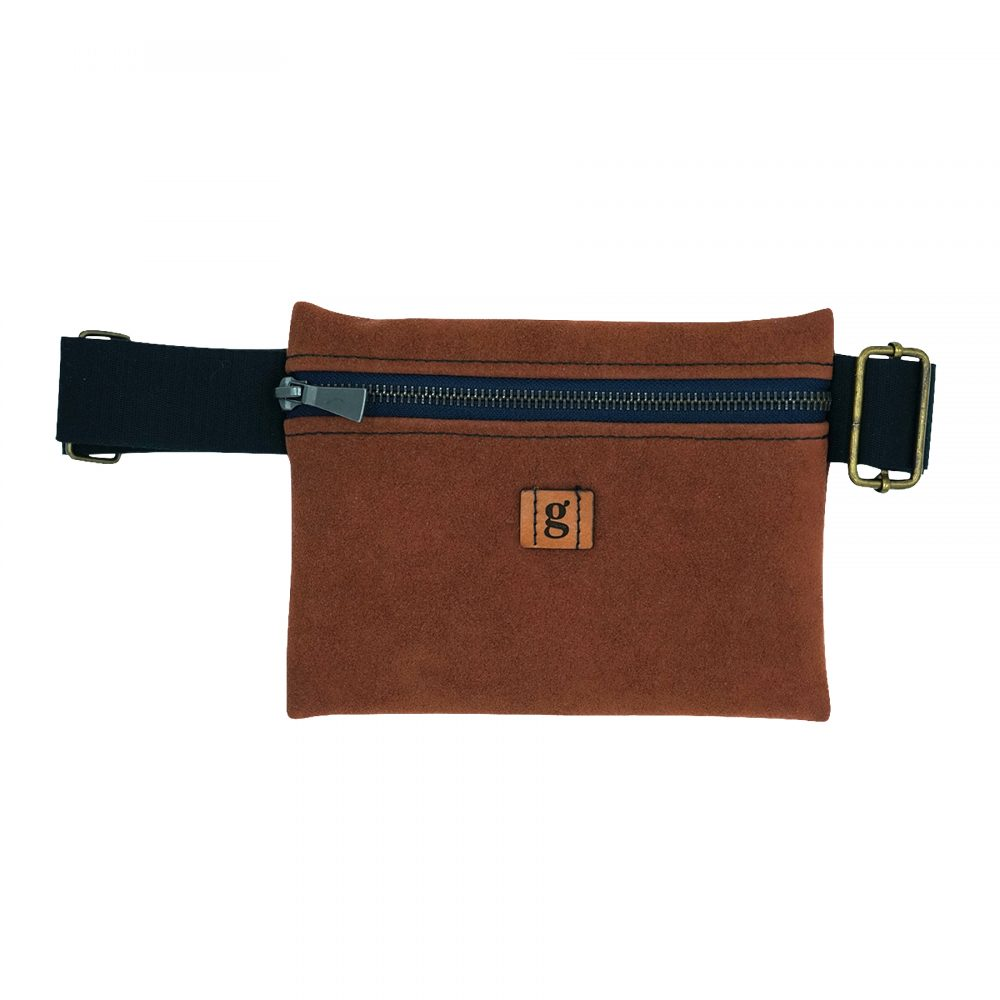 sustainable upcycled zero waste fanny pack dark brown