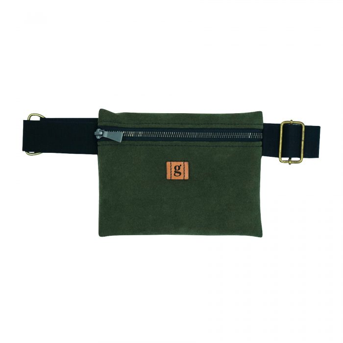 sustainable upcycled zero waste fanny pack dark green