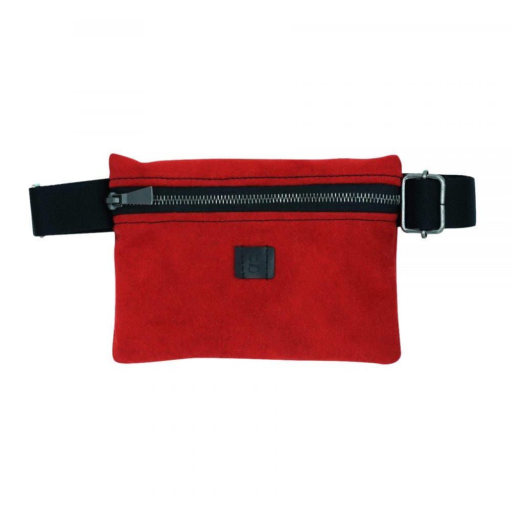 sustainable upcycled zero waste fanny pack red
