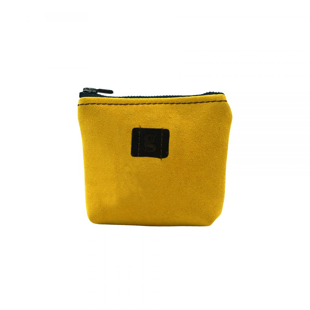 mini wallet upcycled sustainable eco yellow