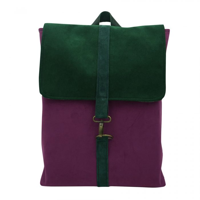Purple green backpack sustainable