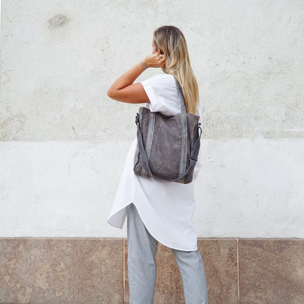 dark gray vegan bag
