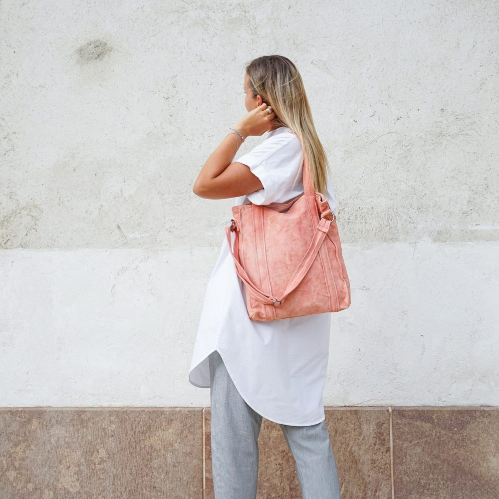 light pink vegan bag