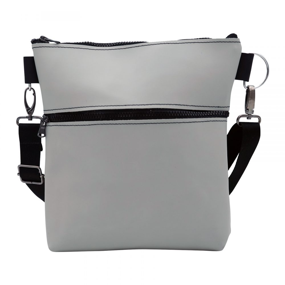 hand made light gray shoulder bag