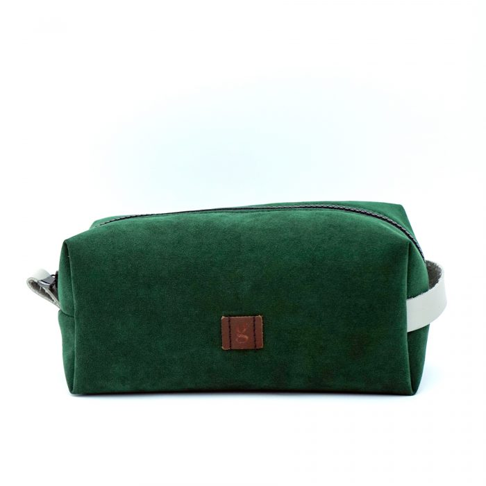 hand made green toiletry bag