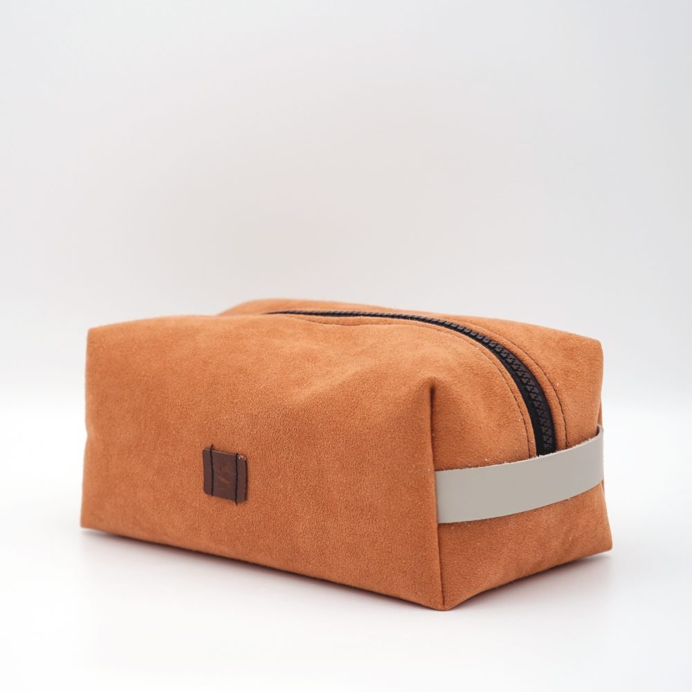 hand made orange toiletry bag