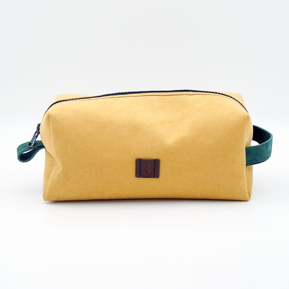 hand made yellow toiletry bag