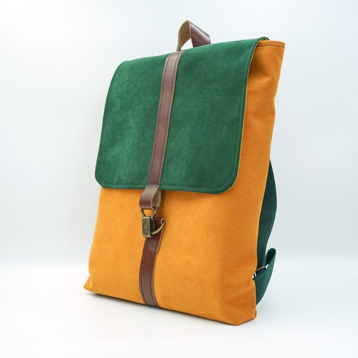 orange green backpack handmade