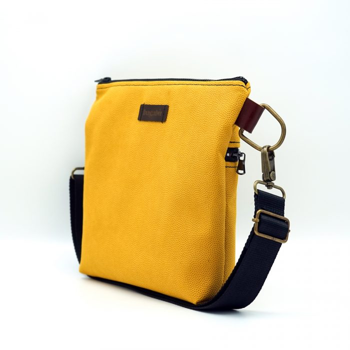 flashy yellow hand bag