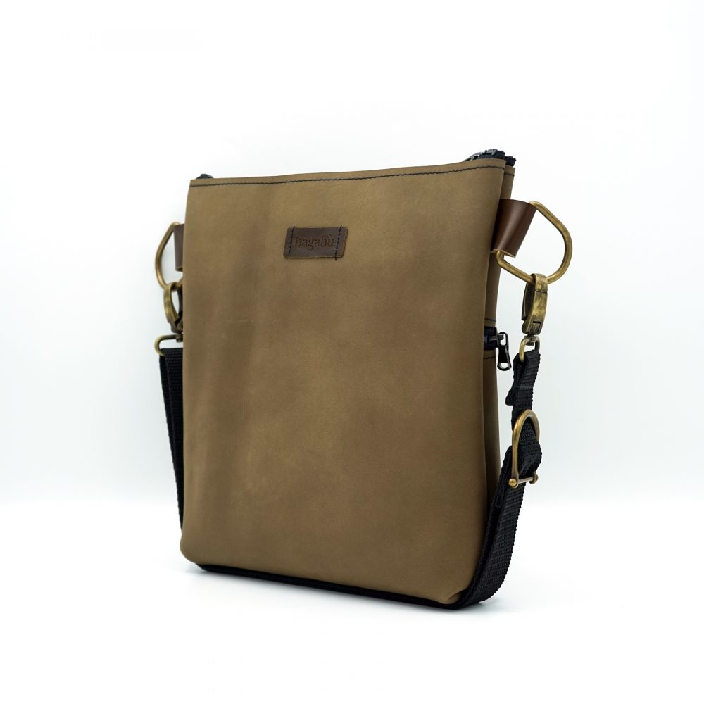 light brown nubuck leather shoulder bag