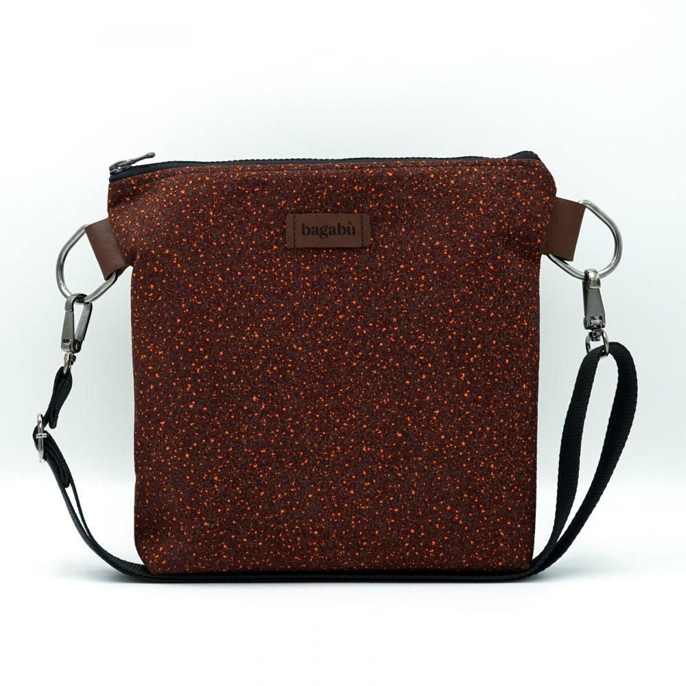 burgundy with yellow dots shoulder bag