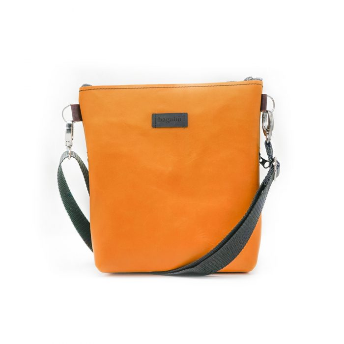 yelllow leather bag