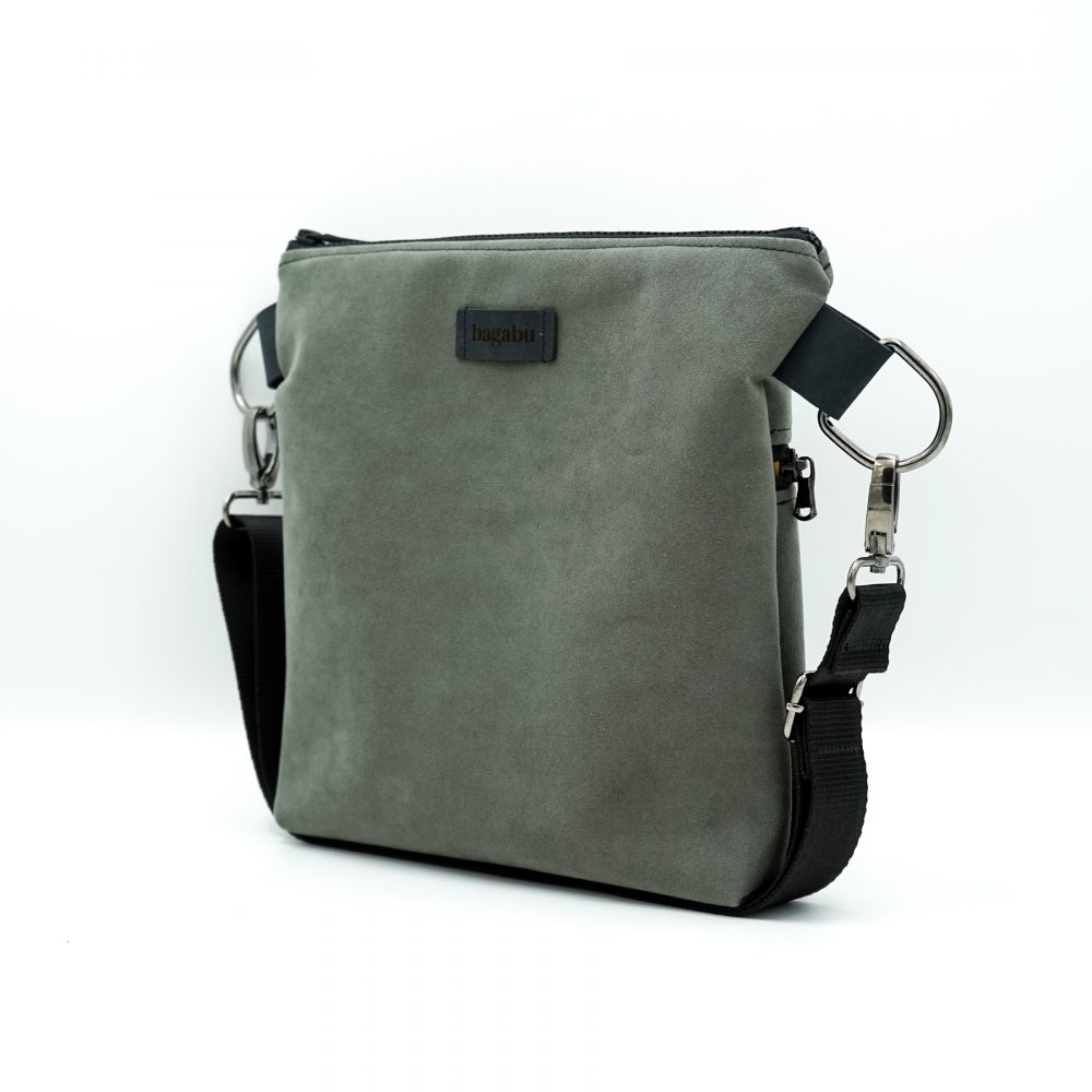 light gray shoulder bag