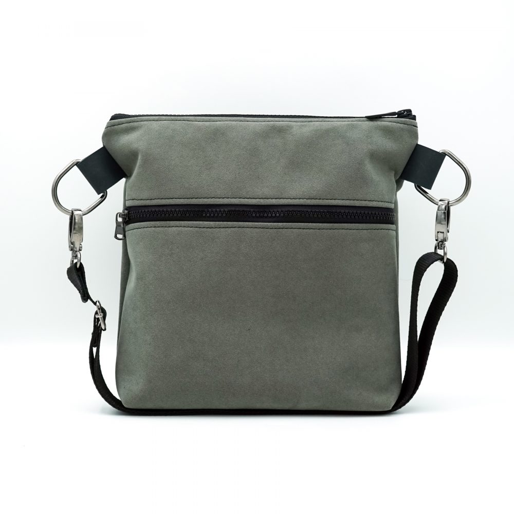 light gray hand bag