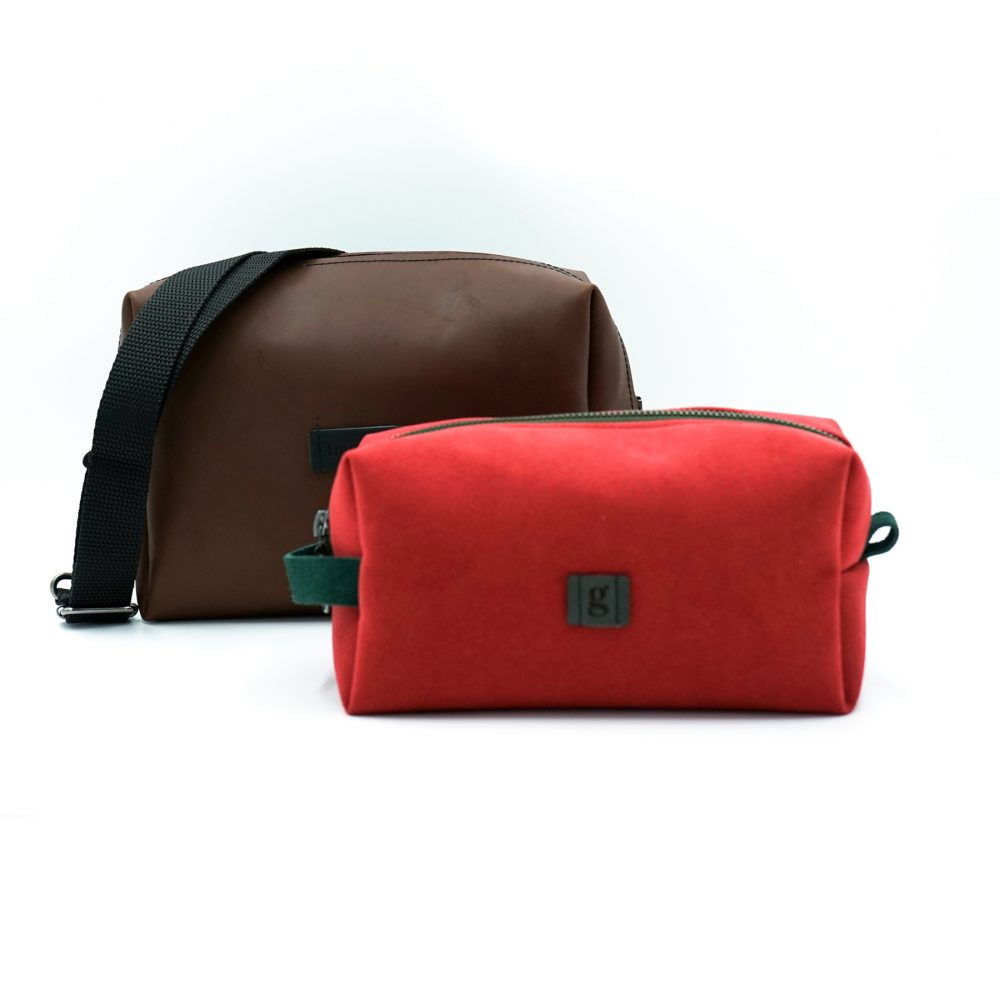 brown and red bag