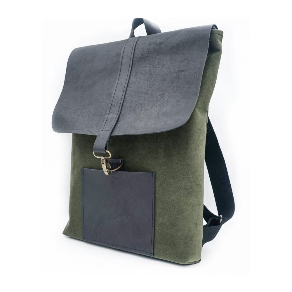 green and black leather bag