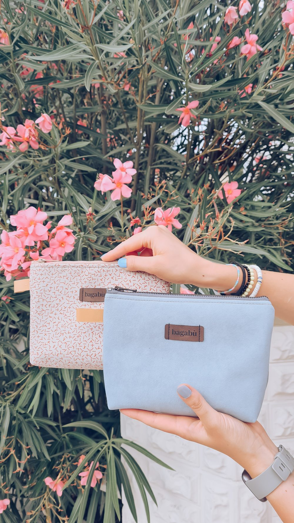 baby blue and white bag